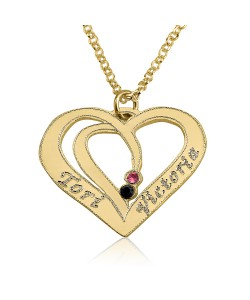 birthstone heart necklace engraved jewelry in 14k solid gold double thickness come with gold chain