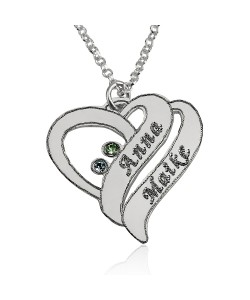 Birthstone heart necklace with two names in silver black engraving