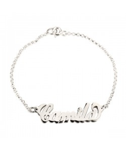 14k Solid White Gold Name Bracelet PersJewel