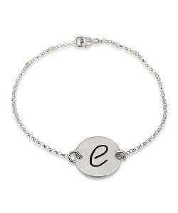 Sterling Silver Engraved Initial Bracelet