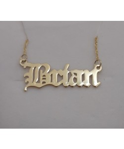 Brian 14K Solid Yellow Gold Name Necklace Old English design