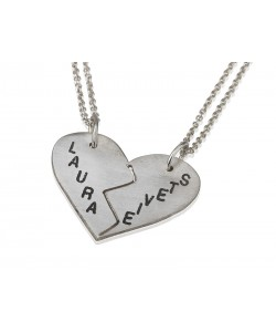 Broken heart necklace in silver for her and you - personalized gift