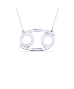 Cancer zodiac sign necklace in Sterling silver