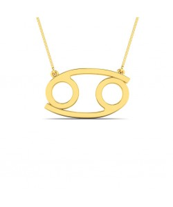 Cancer zodiac sign necklace in yellow gold