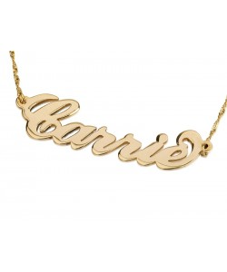 Carrie style 14k gold name necklace - up to 12 letters any name or word in solid gold