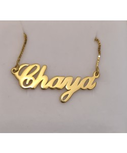 Name Necklace 10K Solid Yellow Gold Chaya Style