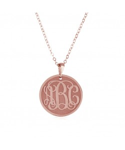 Monogram Rose Gold Necklace with Coin Pendant and Satin Lettering