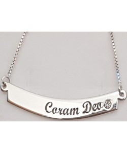 Coram Deo Name Sterling Silver Bar Necklace With Swarovski Stone
