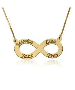 Couples infinity necklace in 10k solid gold jewelry up to 4 names engraved