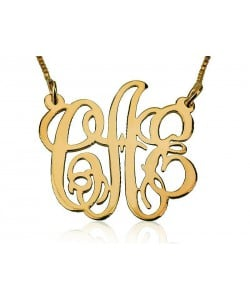 14k Gold Monogram Necklace with Curlicue Cutout Letters - Classic Style 2