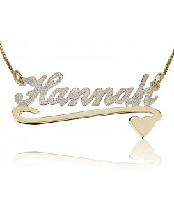 10k Glittery Gold Necklace for Mom with Underline Flourish and Sweet Heart