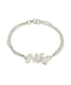 Custom ankle bracelet double chain name jewelry