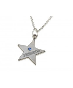 Custom birthstone necklace in a star shape with engraved name