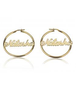 10k gold designed earrings in a hoop style