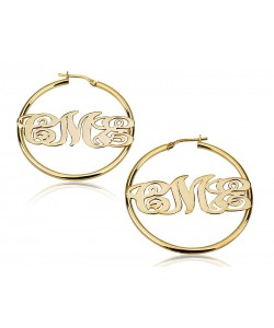 Custom hoop designed earrings in 10k yellow real gold up to 3 letters
