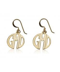 Custom made earrings Block monogram earrings in 10k solid yellow gold