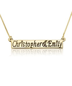 Custom name bar necklace in gold plate in black engraving