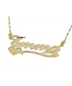 Custom name necklace gold lower heart in 14k solid yellow gold