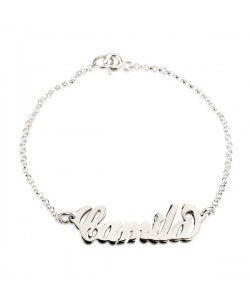 Custom white gold bracelet name carrie style in 14k