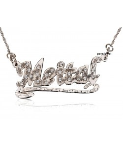 Diamond Rigged 14k Solid White Gold Name necklace jewelry