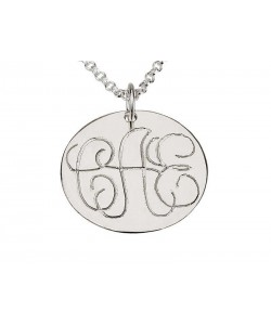 White Gold Disc Pendant with Fine Monogram Letters