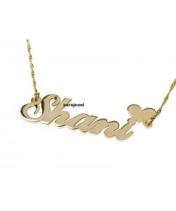 Double thickness custom name necklace gold heart shape in real 10k solid gold