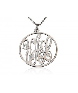 14k White Gold Monogram Necklace with Drizzled Initials in Open Circle Pendant