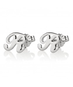 14k White Gold Chic Initial Earrings