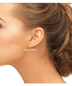 Sparkling Name Earrings with Round Rircle 14k Gold