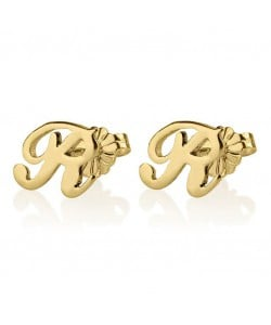 14k Yellow Gold Elegant Initial Earrings