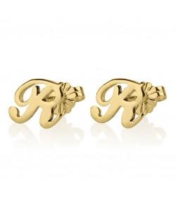 Stylish earrings in 14k real yellow gold - Initial letter earrings