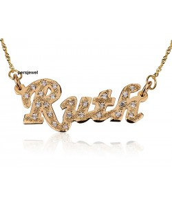 Embedded custom birthstone name necklace 18k gold plate jewelry