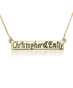 Engraved Bar name necklace in solid gold jewelry