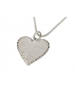 14k White Gold Heart Personalized Necklace for Mom