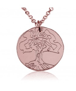 14k Rose Gold Engraved Family Tree Necklace