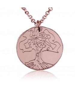 18k Rose Gold-Plated Family Tree Disc Pendant