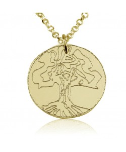 18k Solid Gold Engraved Family Tree Necklace