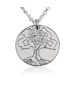 Sterling Silver Round Family Tree Necklace