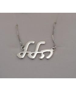 Hallel Solid White Gold Name Necklace - Hebrew