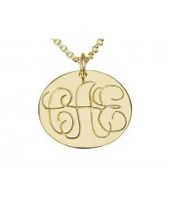 Engraved Fine Stroke Circle Monogram Necklace in 10k Gold