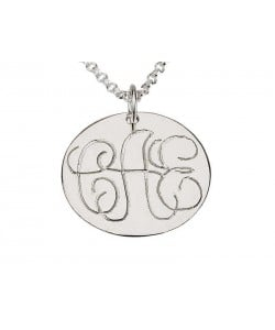 White Gold Circle Monogram Gold Necklace with Fine Stroke Engraving