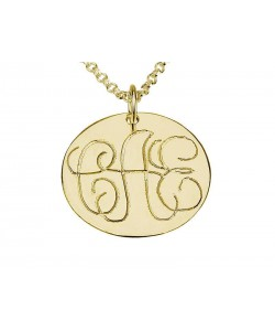 14k Gold Monogram Necklace with Light Stroke Engraving on Round Disc