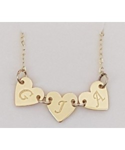 G.J.A 10k Solid Gold Initial's 3 Hearts