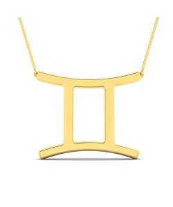 Gemini zodiac sign necklace in yellow gold - You can order 10k or 14k or 18k with a gold chain