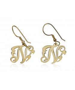 Glitzy One Letter Monogram Earrings in 10k Gold