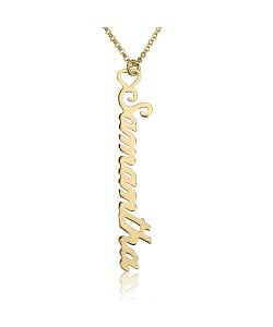 Gold Personalized Vertical Name Necklace with Heart name necklace