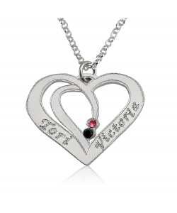 Gold birthstone heart in 14k white gold with two names and two birthstones - rolo chain