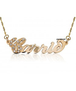 Gold birthstone necklace in 10k solid gold first letter embedded