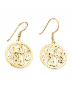 Gold monogram earrings in 10k solid yellow gold up to 3 letters