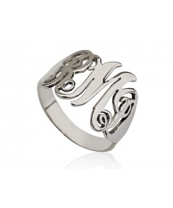 Personalized initial ring in white gold